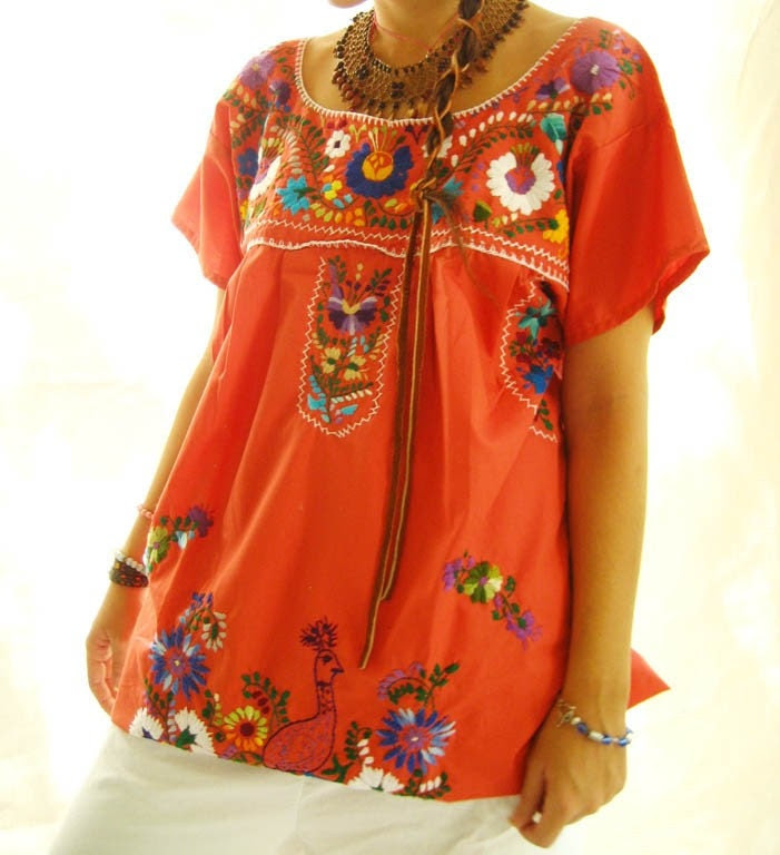 MexicanEmbroidered Dress Tunic Salmon
