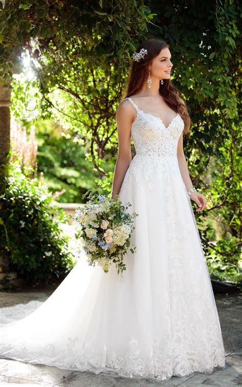 Romantic Boho Wedding Dress with Lace Train   Essense of