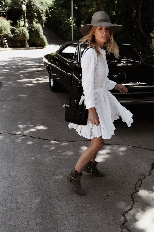 Le Fashion Blog Wide Brim Hat White Long Sleeve Dress Suede Ankle Boots Via Mijaflatau