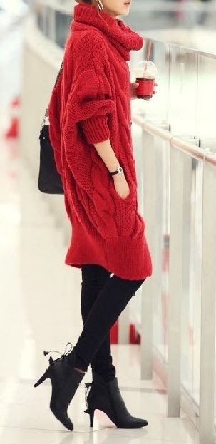 Red sweater dress with leggings and boots.  I need to find a sweater like this for fall!