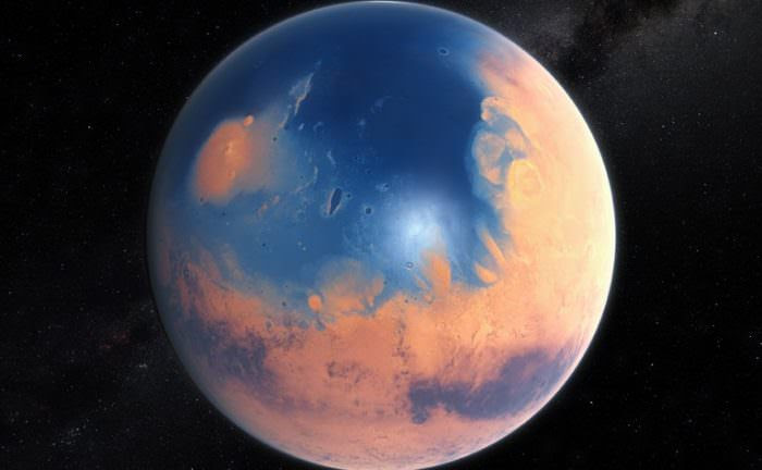 An artist's impression of the ancient Martian ocean. When two meteors slammed into Mars 3.4 billion years ago, they triggered massive, 400 ft. tsunamis that reshaped the coastline. Image: ESO/M. Kornmesser, via N. Risinger
