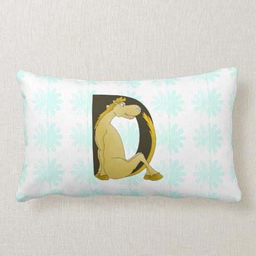 Pony Monogram Letter D Personalized Throw Pillow