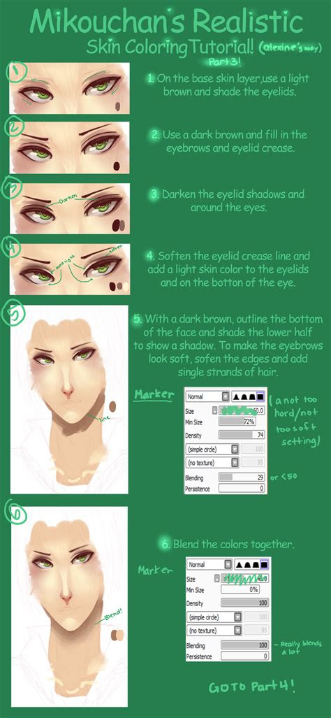 sai semi realistic skin coloring tutorial part
