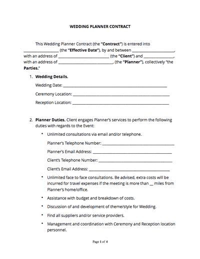 Wedding Planner Contract (Free Sample)   Docsketch