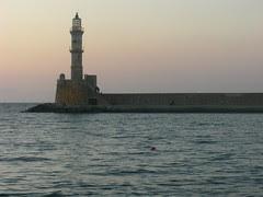 lighthouse hania chania sunset