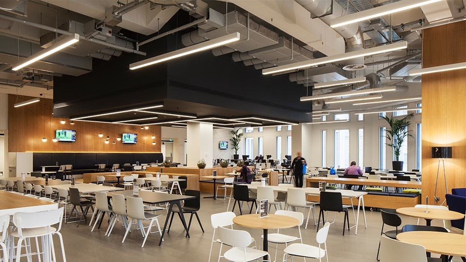 lighting office cafe seating tables industrial interior nulty