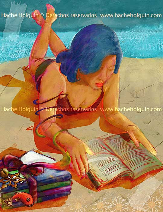 Ilustración para portada Lecturas de El Tiempo, diciembre, por Hache Holguín