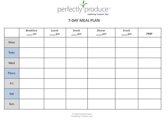 """FREE 7-Day Meal Planning Template - """"always be prepared for your ..."""