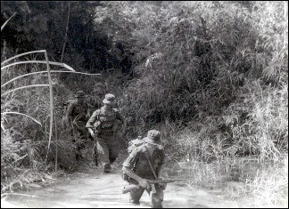 British soldiers on jungle patrol in Malaya