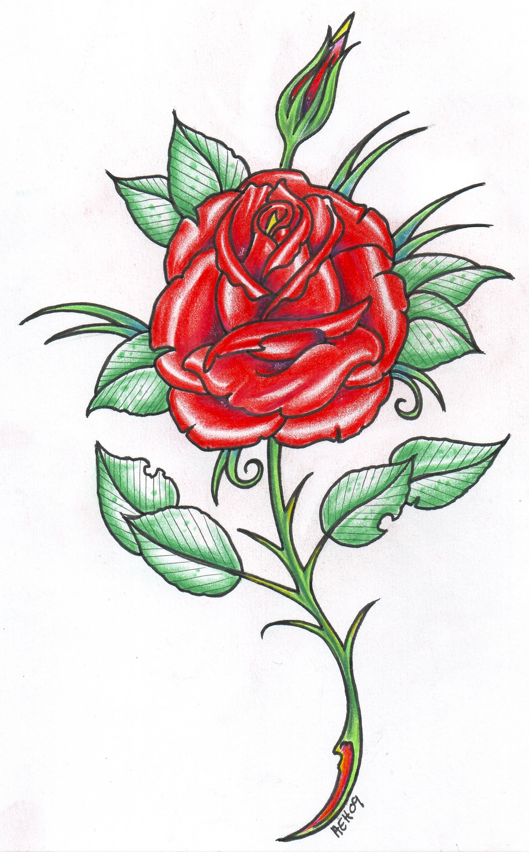 Red Rose Tattoo Design
