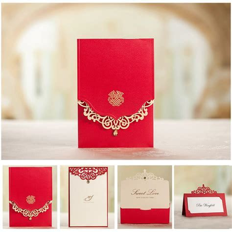 Royal Red Wedding Invitation Card Free Customized Printing