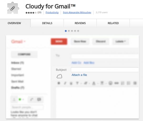 Cloudy: adjunta archivos de la nube en tus correos de Gmail