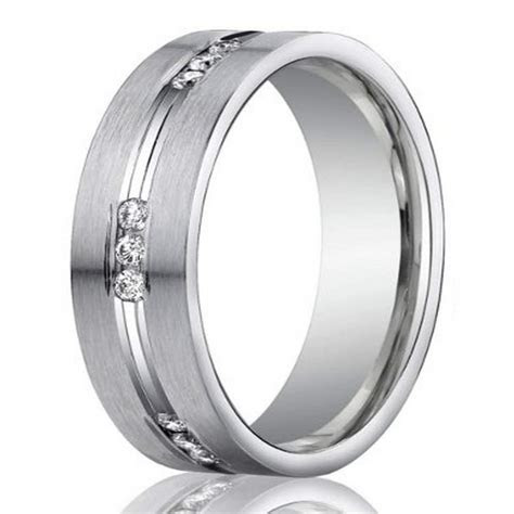 mm mens  platinum channel set diamond wedding ring