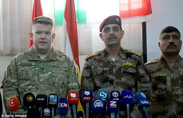 Coalition spokesman Air Force Col. John Dorrian (left) slammed the Kremlin's claims as propaganda