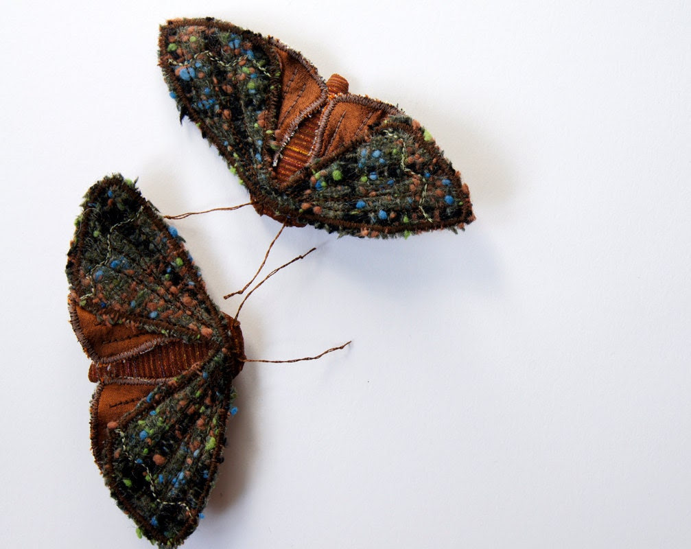 Fabric Copper Underwing Moth Brooch / Ornament / Vintage Wool Silk Brown / Made to Order