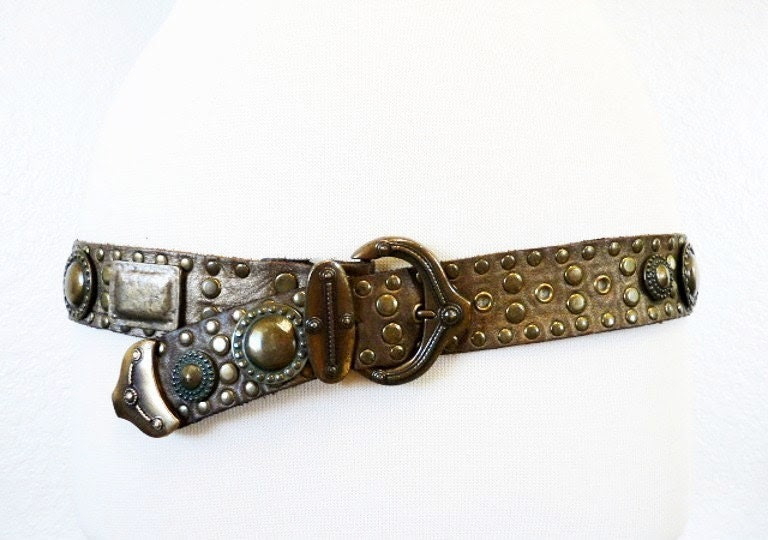 80s Genuine Leather Belt Designer Brass Accents Studded ORIGINAL Sand Castle NY Paris