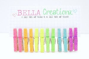 Image of Neon Glitter Mini Clothespins, embellishments - FREE SHIPPING