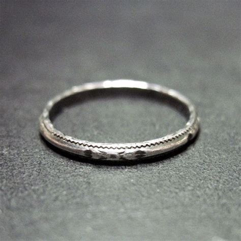 Vintage Art Deco Wedding Ring   Wedding Band   Narrow