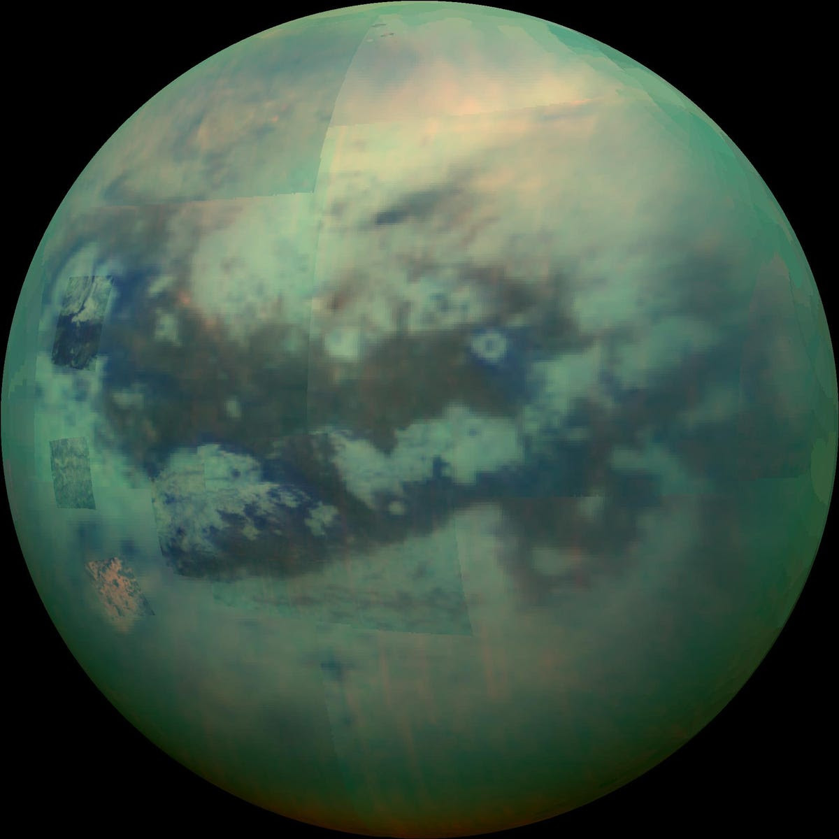 Near-infrared photos cut through Titan's clouds and haze to reveal its complex surface.