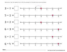 subtraction numberline worksheet kindergarten 1