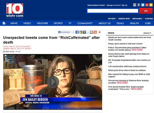 """Unexpected tweets come from """"RickCaffeinated"""" after death By WIS10's Mary King"""