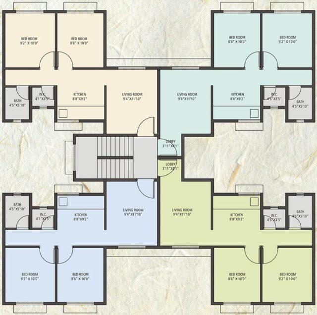Anandgram Talegaon Dhamdhere - 2 BHK Flats + wWth Entrance Lobby 600 Sq.ft. - Wthout Entrance Lobby 575 sq.ft. - D, F, G, H, I, K,L, M, N, O, P Buildi