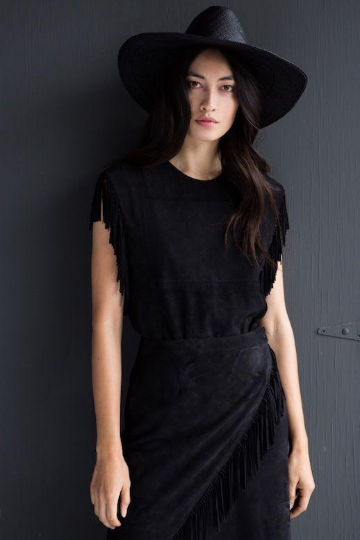 Le Fashion Blog Jenni Kayne Resort 2016 All Black Suede Fringe Top Skirt Via Style Com
