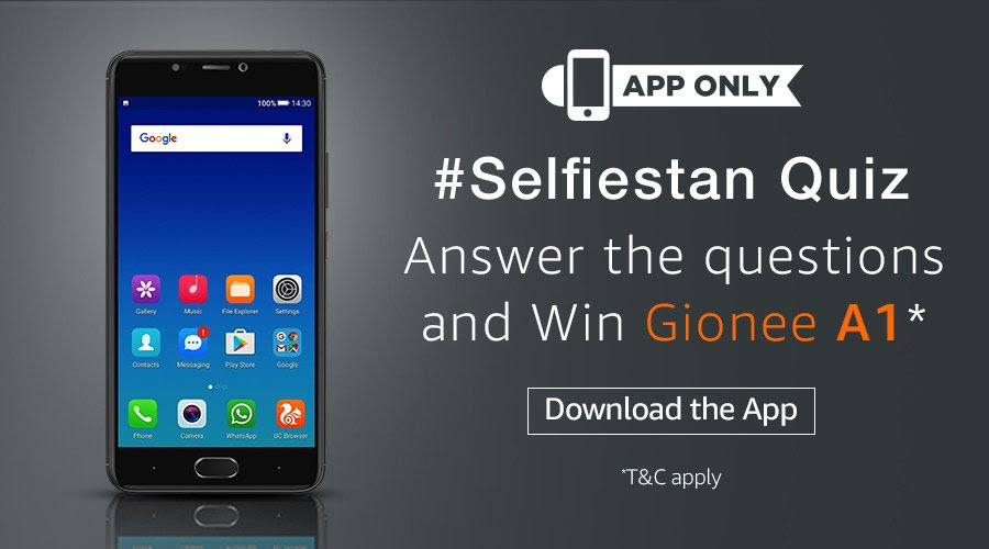 Amazon #Selfiestan Gionee App Quiz and stand a chance to win the Gionee A1*