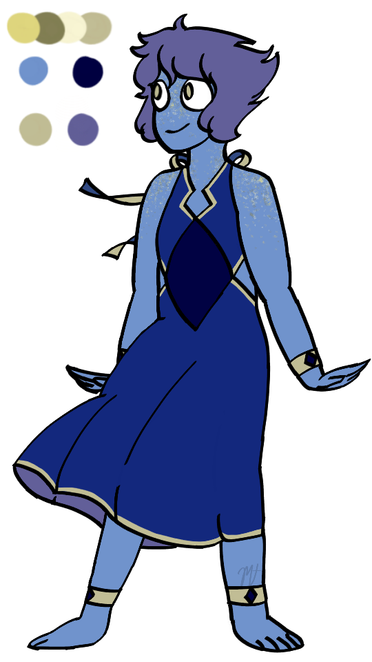 i wanted to jump onto the redesign bandwagon, so here's a lapis! i didn't want to stray too far from her original design, but the colors on the other hand? no, goodbye. (click for captions!)