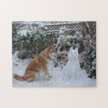 cute akita in snow with snowman akita dog photo puzzles