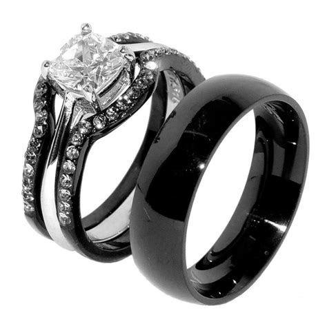 His & Hers 4 PCS Black IP Stainless Steel Wedding Ring Set