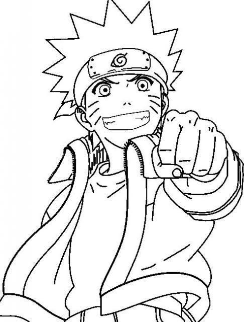 Coloriage A Imprimer Naruto Poing En Avant Gratuit Et Colorier