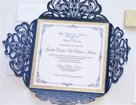 Navy Blue and Gold Glitter Laser Cut Wedding Invitation