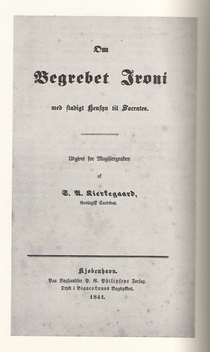 The cover page to Søren Kierkegaard's universi...
