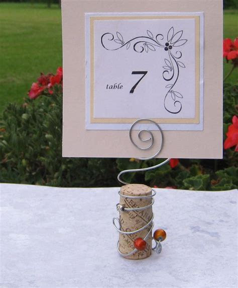 RESERVED   Wine Cork and Wire Table Card Holder for