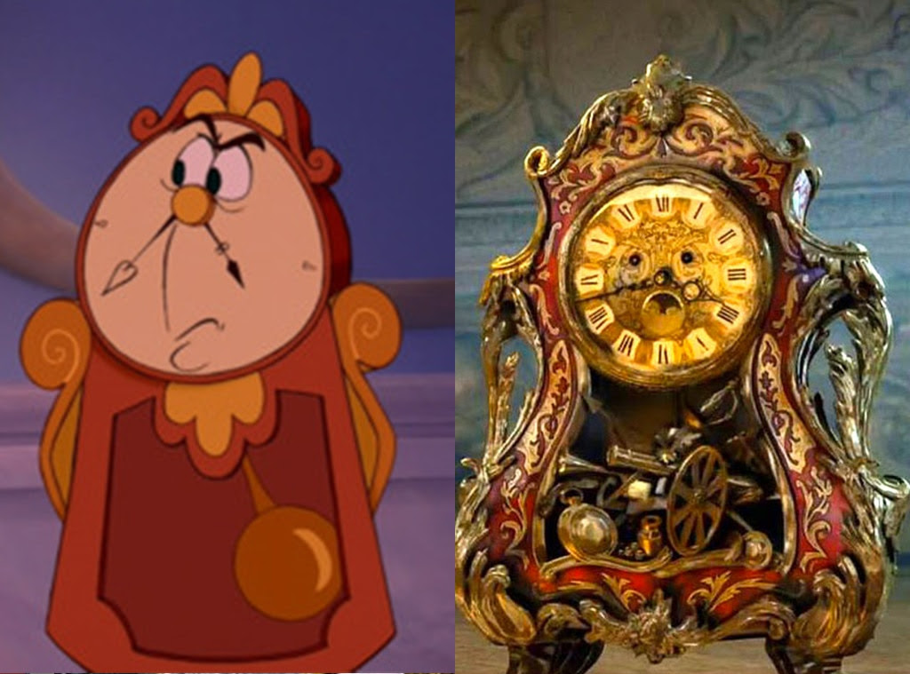 Cogsworth, Beauty and the Beast, Animated Disney vs. Live Action Disney