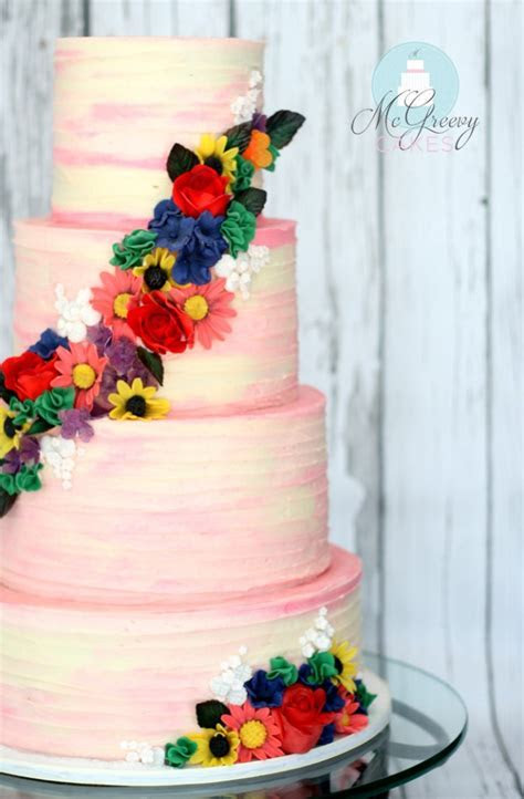 How to achieve a Rustic, Watercolor Buttercream Finish on