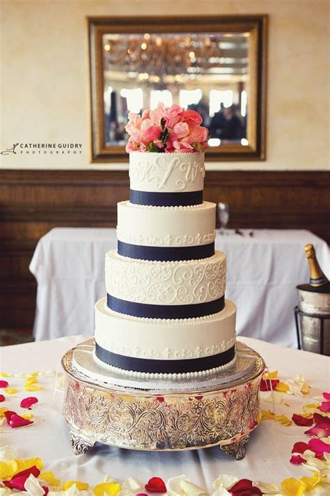 Navy Blue And Coral Wedding   Wedding Cake With Coral