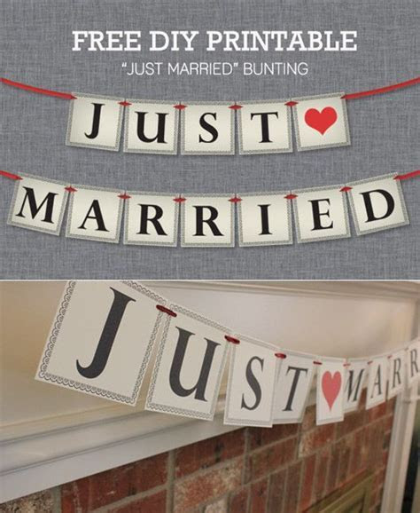 Free Just Married bunting   Free Printable Wedding