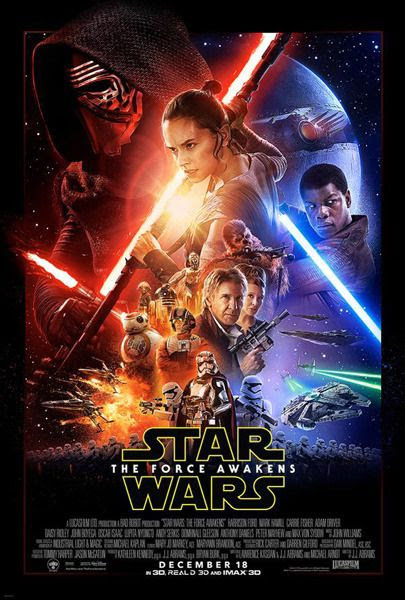 The theatrical movie poster for STAR WARS: THE FORCE AWAKENS.
