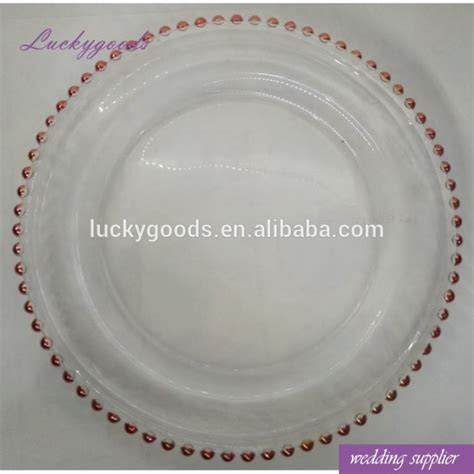 LCK006 Wedding Rent Rose Gold Rim Glass Charger Plates