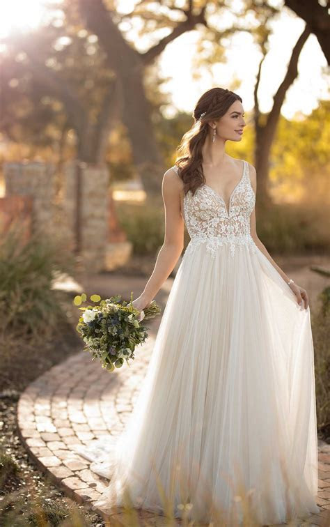 Sheer Beaded Beach Wedding Dress   Essense of Australia