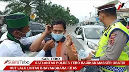 Sat Lantas Polres Tebo Bagikan Masker Gratis Saat HUT Lalu Lintas Bhayangkara ke 65