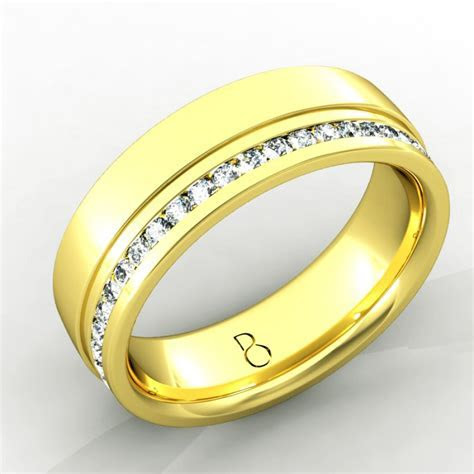 18ct Yellow Gold Mens Diamond Set Wedding Band 0.45ct