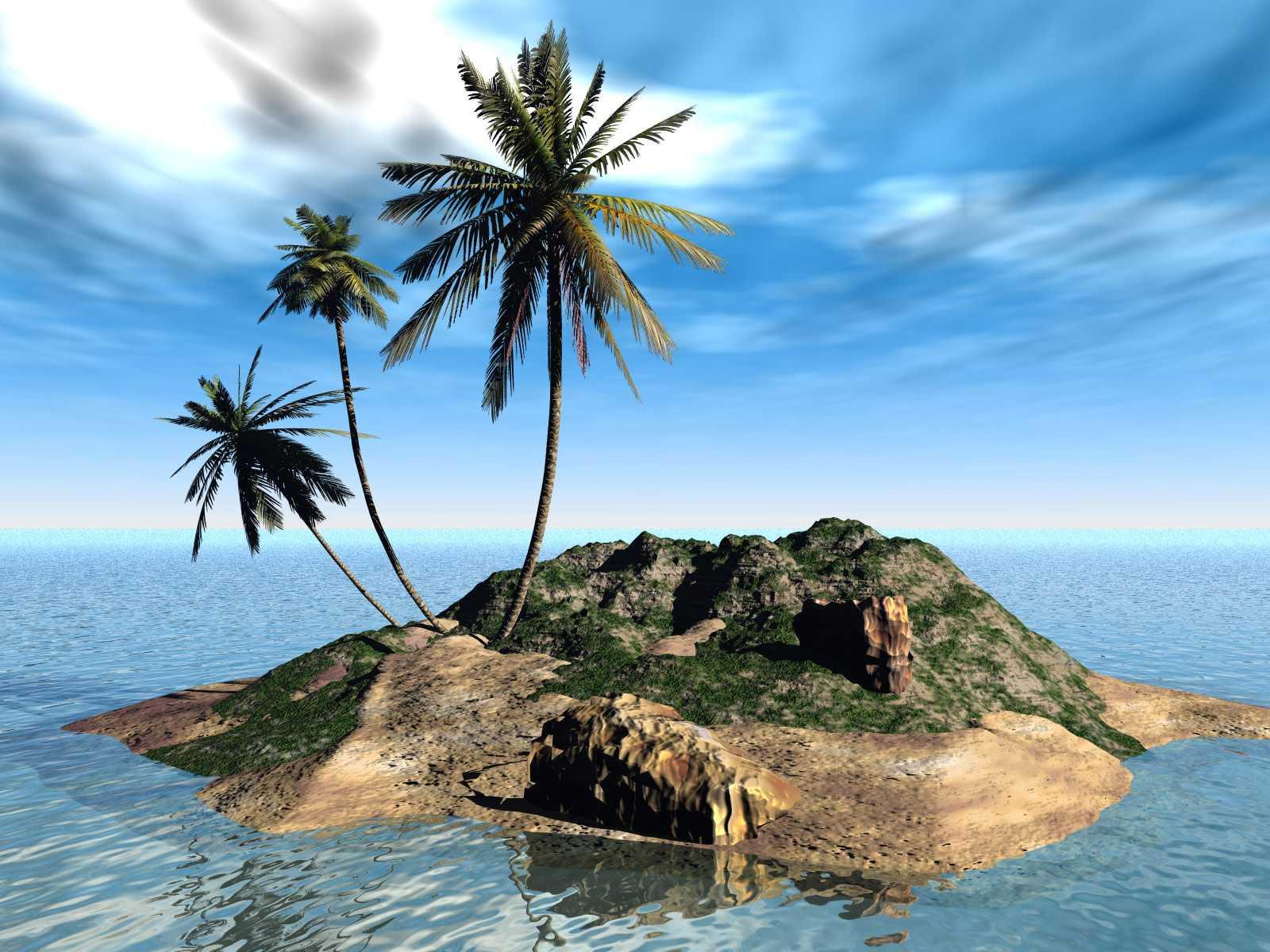 Papel-de-parede-3D-Ilha-1 – Só Papel de Parede Grátis
