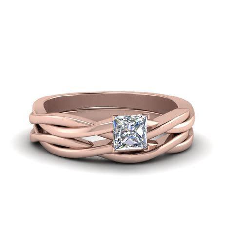 Simple Vine Solitaire Bridal Ring Set   Fascinating Diamonds
