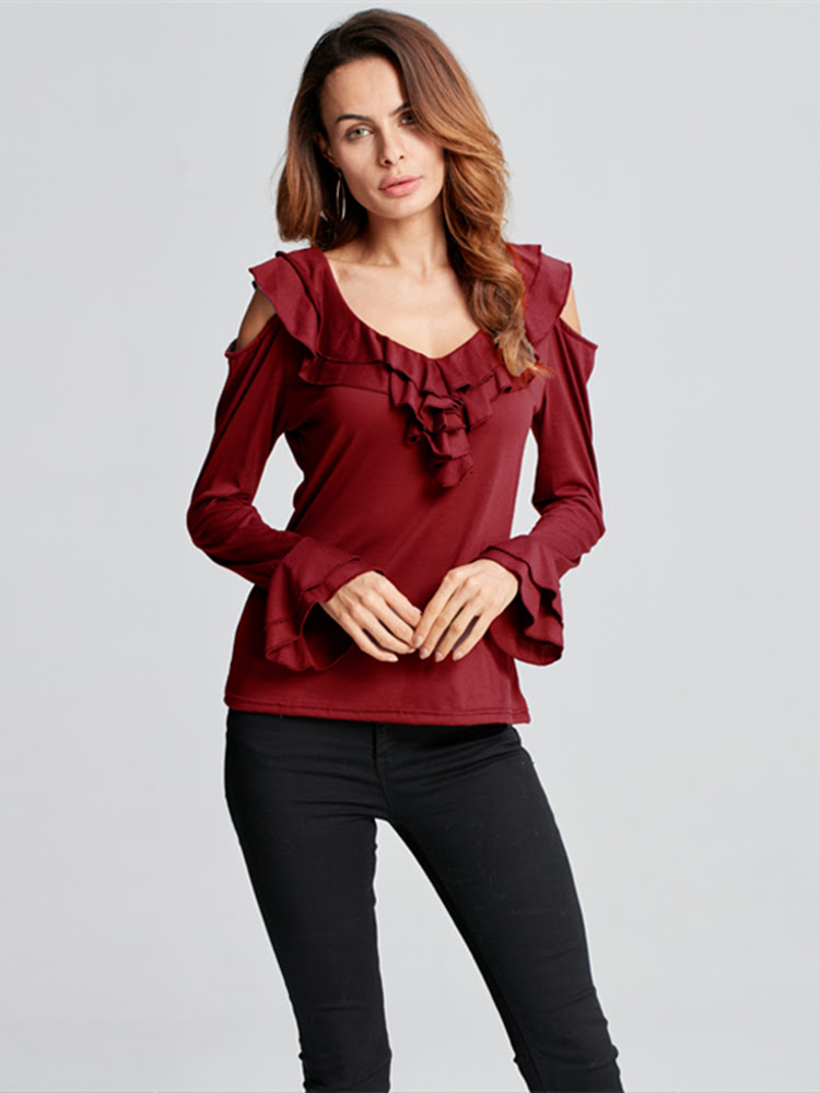 Elegant Women Off Shoulder Ruffles Pure Color Long Sleeve T-shirts