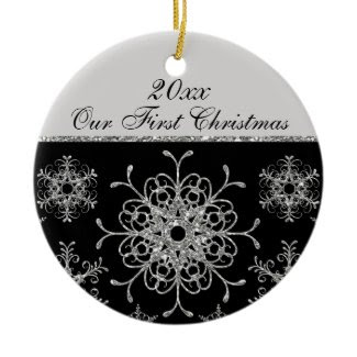Black, Silver 1st Christmas Keepsake Ornament