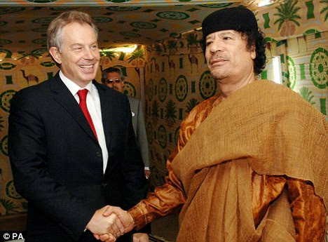 Friends: Blair with Gaddafi at his desert base outside Tropoli while he was Prime Minister in 2007