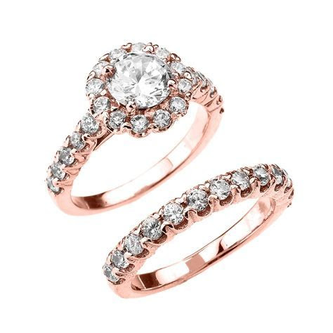 Beautiful Dainty Rose Gold 3 Carat Halo Solitaire CZ